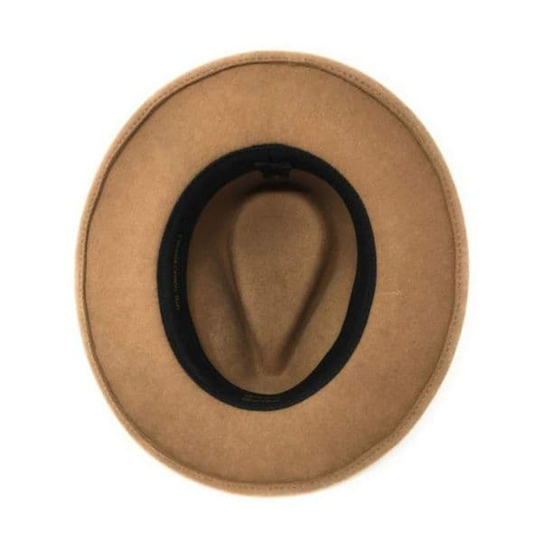 Womens Showerproof Wool Beige Fedora Hat with Country Feather Wrap Trim - Chadlington